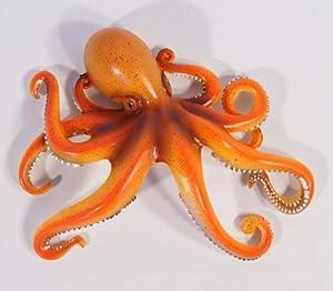 "Handpainted Octopus Wall Mount Decor Plaque 8"" Orange: Home & Kitchen"