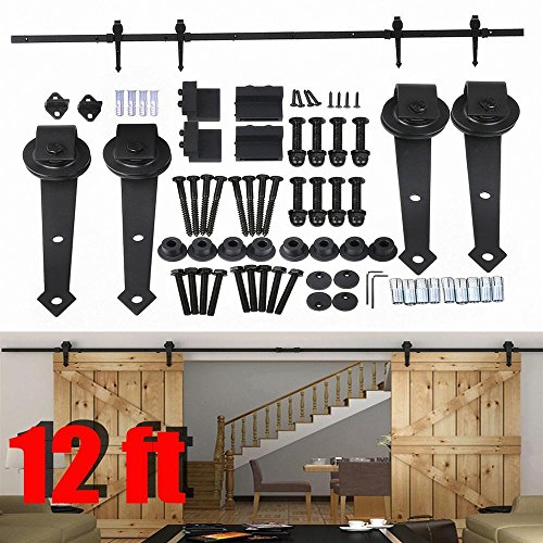 Go2buy 12FT Wood Double Sliding Barn Door Hardware Closet Track Kit Set (French Door Barn Door Hardware compare prices)
