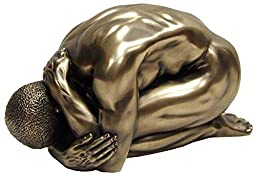 5.5 Inch 71751 (Mbz) Polished Bronze Hued Nude Male Kneeling Bent Over