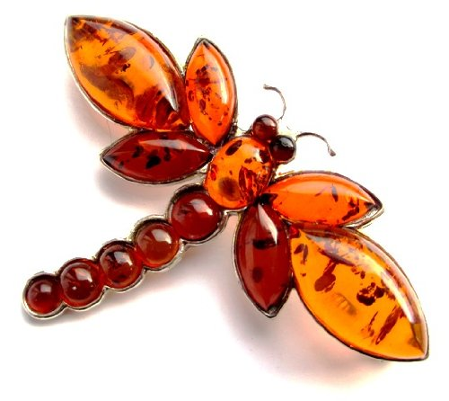 Light and Dark Amber Sterling Silver Dragonfly Brooch
