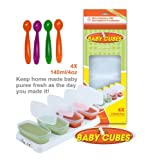 Happy Mummy 1 PACK Of Baby Cubes Food Cube Portioners Storage Pots 140ml (Stage 3) & 4 PACK Of Feeding Spoons