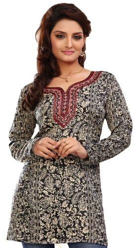 india-tunica-top-kurti-womens-impreso-blusa-indian-apparel-negro-m