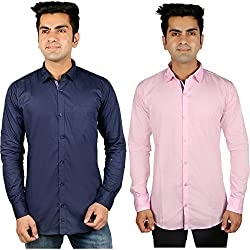 Nimegh Blue, Pink Color Cotton Casual Slim fit Shirt For men's (Pack of 2)