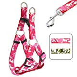 """Camo Cool"" Camouflage Print Polycotton Dog Harness & Lead Set - Pink Jungle"