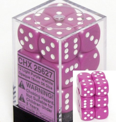 Chessex Dice d6 Sets: Opaque Light Purple with White - 16mm Six Sided Die (12) Block of Dice