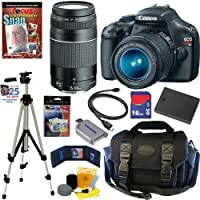 Canon EOS Rebel T3 12.2 MP CMOS Digital SLR Camera with EF-S 18-55mm f/3.5-5.6 IS II Zoom Lens & EF 75-300mm f/4-5.6 III Telephoto Zoom Lens + 10pc Bundle 16GB Deluxe Accessory Kit by Canon