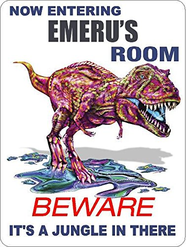 9x12-aluminum-emeru-room-colorful-t-rex-dinosaur-its-a-jungle-novelty-sign