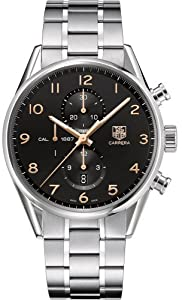 Carrera Chronograph Stainless Steel Case and Bracelet Black Dial