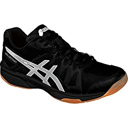 ASICS Men\'s Gel Upcourt Volley Ball Shoe,Black/Silver,10.5 M US