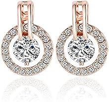 Comprar AnaZoz Joyería de Moda Pendientes Círculo Clásico 18K Chapado en Oro Rosa Cristal Austria SWA Elements Pendientes