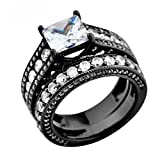Luxussay White Sapphire Antique Women Retro Black Gold Filled Wedding Rings