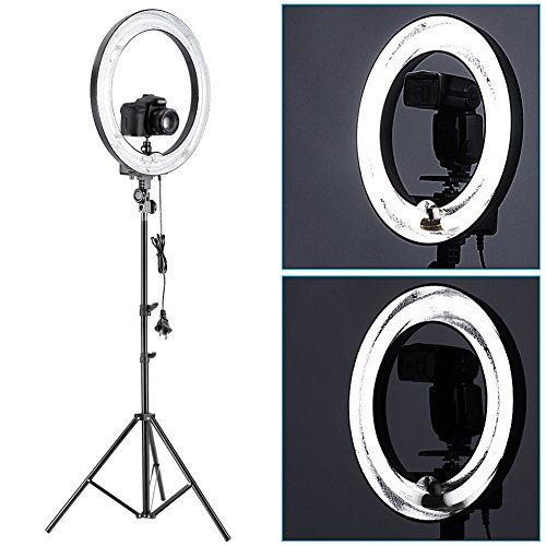 Neewer-14Outer-10Inner-400W-5500K-Ring-Fluorescent-Flash-Light-Kit-Includes1Ring-Fluorescent-Flash-Light175190cm-Light-Stand1Mini-Ball-Head-and-Hot-Shoe-Adapter-Camera-Cradle