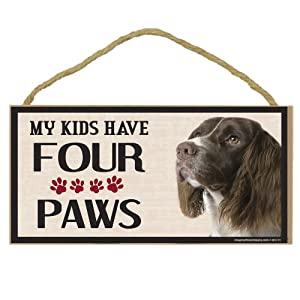 Imagine This Wood Breed Four Paws Sign, Springer Spaniel