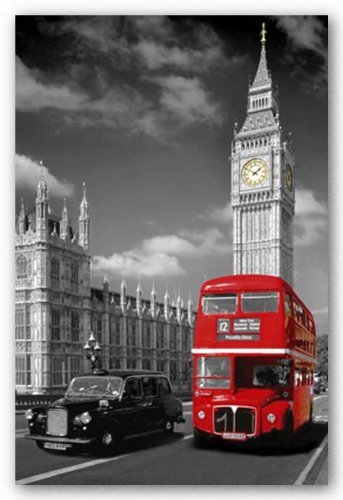 London Piccadilly Bus and Taxi Art Poster Print - 24x36
