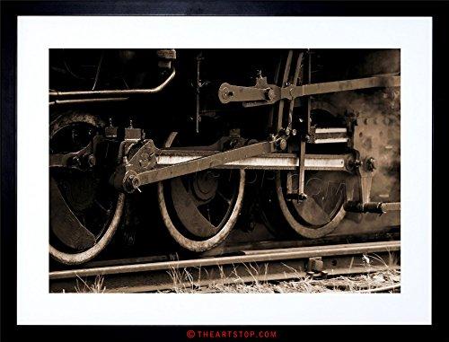 VINTAGE PHOTO STEAM TRAIN ENGINE LOCOMOTIVE TRACKS FRAMED PRINT F12X4357 (Vintage Train Engine compare prices)
