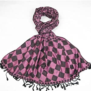 Women Elegant Pink Floral Geo Scarf and Pashmina  Pink Purple Blue Silver Grey Red colours