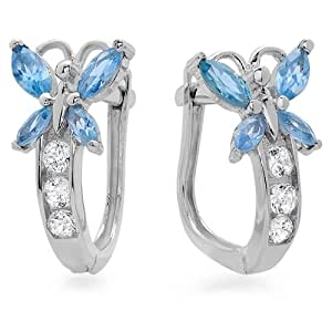 14K White Gold Blue CZ & White Round & Marquise White CZ Cubic Zirconia Ladies Butterfly Huggie Hoop Earrings