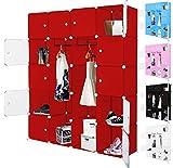 Kesser-Kleiderschrank-DIY-Schrank-Regalsystem-Steckregal-Garderobe-Schuhregal-Gre20-Boxen-1000-LiterFarbeRot-20-Boxen