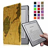 Fintie Kindle 5 & Kindle 4 Ultra Slim Case - The Thinnest and Lightest PU Leather Cover with Magnet Closure (Only Fit Amazon Kindle With 6'' E Ink Display, does not fit Kindle Paperwhite, Touch, or Keyboard), Map Brown