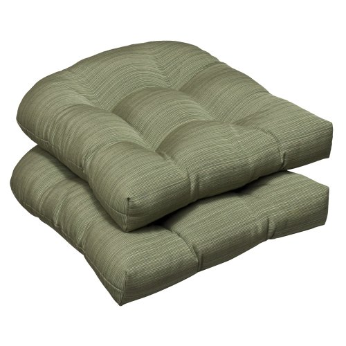 Pillow Perfect Indoor/Outdoor Green Textured Solid Sunbrella Wicker Seat Cushions, 2-Pack image