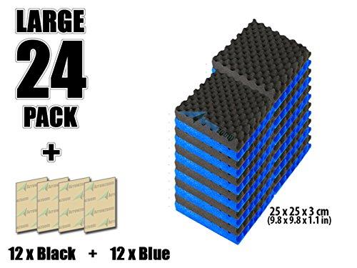 super-dash-combination-24-pack-of-25-x-25-x-3-cm-blue-black-egg-crate-acoustic-home-studio-soundproo