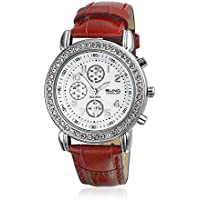 Bling Jewelry Geneva Round Red Leather Strap Stainless Steel Back Watch
