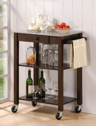 Cheap Powell Ottawa Dark Wenge Kitchen Cart (271-415)