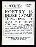 The Poetry Society of America Bulletin: October 1972