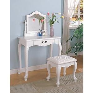 White Finish Wood 3 Pc Bedroom Make Up Vanity Table Set
