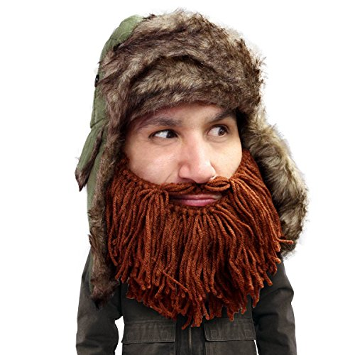 Beard Head® - The Original Barbarian Trapper Knit Beard Hat (Brown)