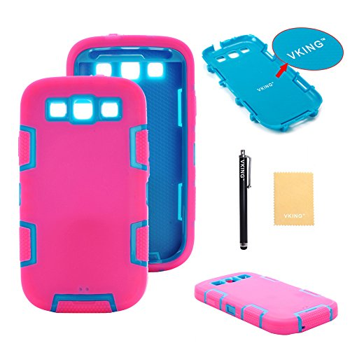Vking(Tm) Armor Defender Case With Robot Design For Samsung Galaxy Iii S3 I9300+[Screen Protecot]+[Free Stylus]+[Cleaning Cloth] Jqr Hot Pink Blue front-552965