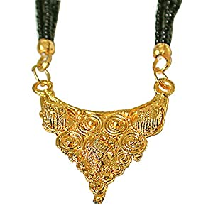 Surat Diamonds Gold Plated Mangalsutra Pendant with Black Kedia Beads Chain 30 IN for Women  MNG10  available at Amazon for Rs.99