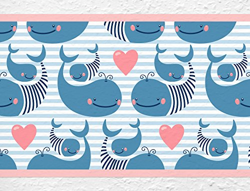 I-Love-de-pared-adhesivo-B-de-10032-habitacin-de-los-Nios-cenefa-ballenas-bajo-el-agua-Mundo-peces-Papel-pintado-infantil