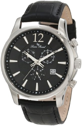 Lucien Piccard Men's 11567-01 Adamello Chronograph Black Textured Dial Black Leather Watch
