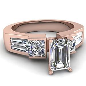 2.20 Ct Emerald Cut:Very Good Diamond Engagement Ring Bezel Set VVS1-H GIA 14K