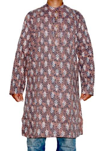 Indian Yoga Dolby Block Print Mens Casual Wear Cotton Long Mens Kurta SIZE XL