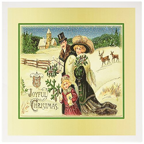 3dRose Print of Victorian Family Christmas Framed in Gold Greeting Cards, Set of 12 (gc_195109_2)