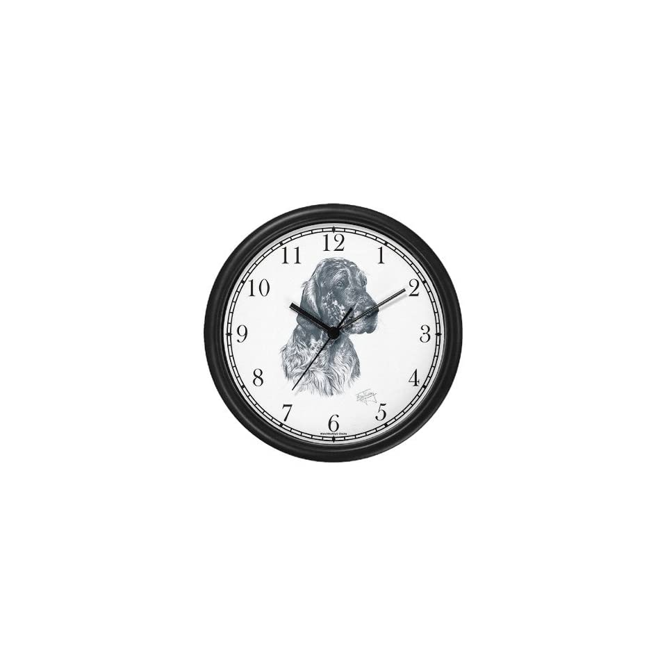 English Setter Dog (MS) Wall Clock by WatchBuddy Timepieces (Hunter Green Frame)