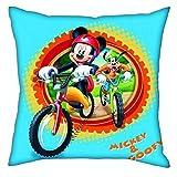Micky Maus - Almohada de Mickey en Ruta Azul Claro 40 x 40 cm