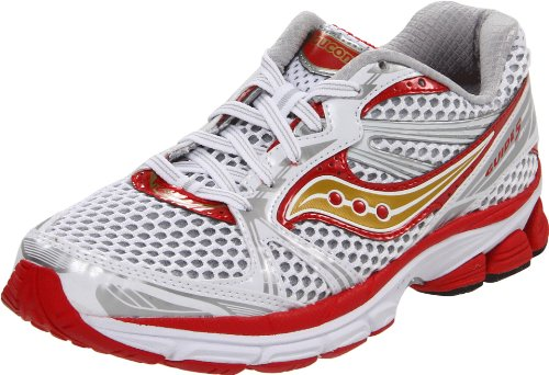 Saucony Women 'ProGrid Guide 5' Running Shoes, White/Red/Gold Size- 5