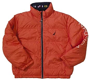 Nautica Men's Quilted Down Jacket (Orange) (X-Large)