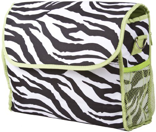 Ever Moda Green Zebra Diaper Bag With Change Pad - 1