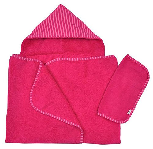 Green Sprouts Brights Organic Terry Hooded Towel and Washcloth Gift Set, Fuchsia One Size, 2 Count - 1