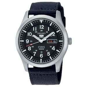 Seiko - SNZG15K1 - 5 Sports - Montre Homme - Automatique Analogique - Cadran Noir - Bracelet Tissu Noir