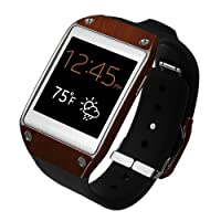 Skinomi® TechSkin - Samsung Galaxy Gear Screen Protector + Dark Wood Full Body Skin Protector / Front & Back Premium HD Clear Film / Ultra High Definition Invisible and Anti Bubble Crystal Shield with Free Lifetime Replacement Warranty - Retail Packaging