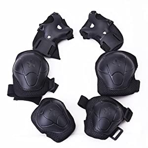 Children Cycling Roller Skating Knee Elbow Wrist Protective Pads--Black / Adjustable Size, Suitable for Skateboard, Biking, Mini Bike Riding and Other Extreme Sports