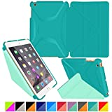 roocase iPad Mini 3 Case - Origami 3D iPad Mini Slim Shell Case Smart Cover with Sleep / Wake [Features Landscape, Portrait, Typing Stand] for Apple iPad Mini 3, 2 & 1, Turquoise Blue / Mint Candy