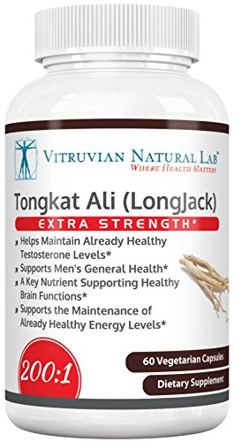 Vitruvian Natural Lab - Tongkat Ali Supplement - 200:1 Extract 400mg Per Veggie Capsule - Increase Testosterone Production Naturally - Boost Libido - Eurycoma Longifolia or Longjack - Extra Strength (Monster Energy Mega compare prices)