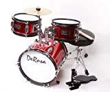 DeRosa by Bridgecraft Child Drum Set with Seat, Sticks &amp; Cymbal DRM 312 - RED