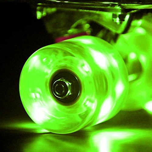 CAMTOA 4 Set LED Longboard Skateboard Wheels Light Up with ABEC-7 Bearings - Smoother Quieter Ride 60x45mm Green